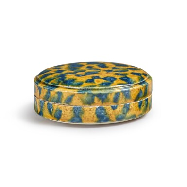View 4. Thumbnail of Lot 176. A dappled blue-and-amber-glazed box and cover, Tang dynasty | 唐 三彩加藍蓋盒.