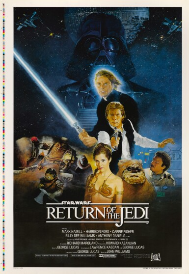 RETURN OF THE JEDI, US STYLE B POSTER PRINTER'S PROOF, PRINTED ON THE BACK OF A POSTER FOR HERCULES, 1983