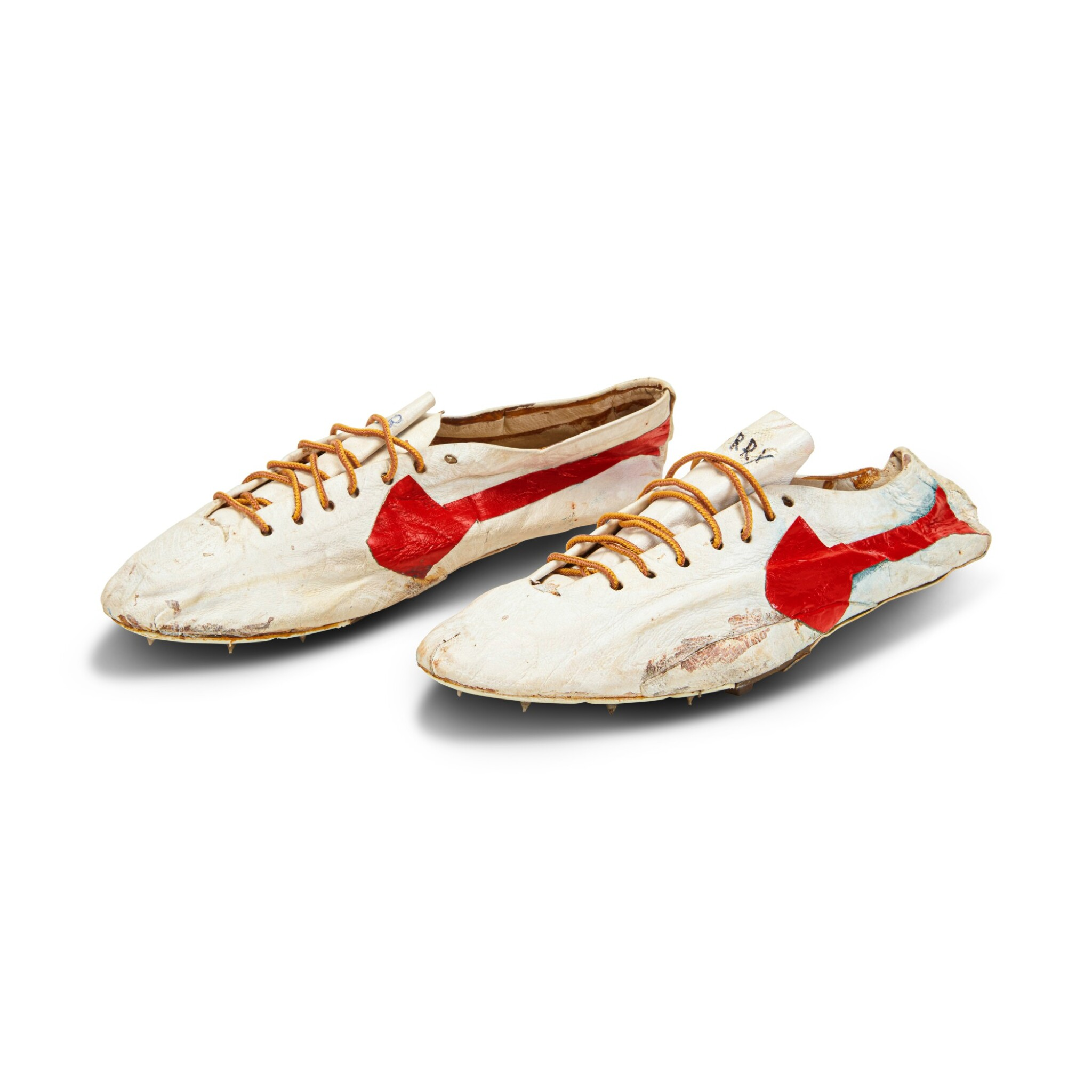 View full screen - View 1 of Lot 8. Bill Bowerman (Nike Co-Founder) Handmade Prototype Logo Track Spikes With Waffle Sole.