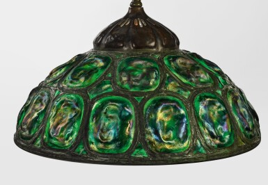 """View 1. Thumbnail of Lot 422. TIFFANY STUDIOS   """"TURTLE-BACK"""" CHANDELIER."""