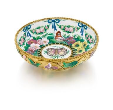 A silver-gilt and enamel bowl, Ovchinnikov, Moscow