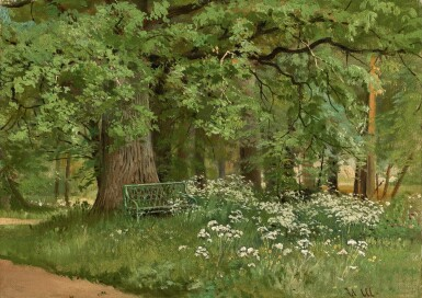 View 1. Thumbnail of Lot 3. IVAN IVANOVICH SHISHKIN | A BENCH IN THE SHADE.