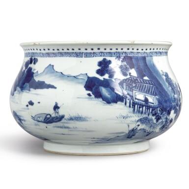 View 3. Thumbnail of Lot 142. A blue and white 'landscape' censer, Qing dynasty, Kangxi period | 清康熙 青花山水人物圖爐  《大明成化年製》仿款.