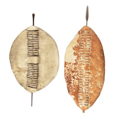 View 1. Thumbnail of Lot 228. Deux boucliers, Zulu, Afrique du Sud | Two shields, Zulu, South Africa.