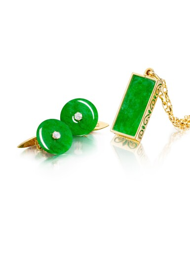 View 3. Thumbnail of Lot 1681. Jadeite Pendent Necklace | 天然翡翠 配 鑽石 項鏈.