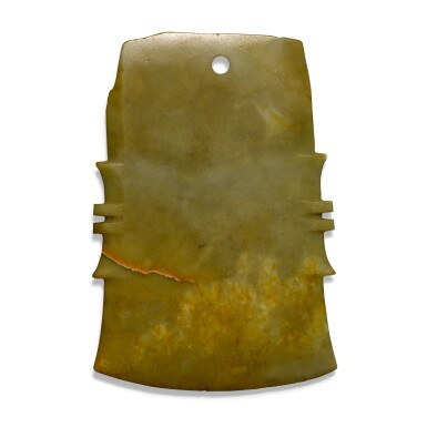 View 2. Thumbnail of Lot 106.  A SMALL JADE NOTCHED AXE, FU, SHANG DYNASTY/WESTERN ZHOU DYNASTY | 商/西周 玉斧.