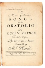 """G.F. Handel. First edition of the oratorio """"Esther"""" and three others by Handel and Corelli, 1700-1739"""