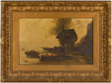 ÉDOUARD MENTA   Neapolitan coastal scene with boats and a figure