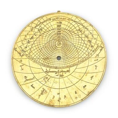 View 6. Thumbnail of Lot 66. A gilt-brass astrolabe signed by Ahmad ibn Abu 'Abdallah al-Qurtubi al-Yamani, North-East Spain, Tudela, dated 737 AH/1336-37 AD.