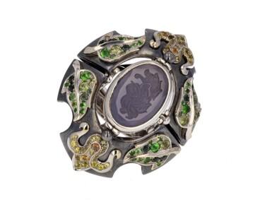 View 5. Thumbnail of Lot 8. Elie Top, Gem-Set, Diamond And Chalcedony Ring [Bague Diamants, Pierres De Couleur Et Calcédoine], 'Air De Printemps'.