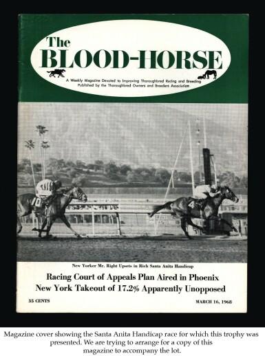 GOLD: The Santa Anita Handicap: An American 14 Karat Gold Horse Race Trophy, Shreve & Co., San Francisco, dated 1968
