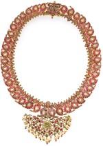 A DIAMOND, RUBY AND EMERALD-SET GOLD MANGA MALAI NECKLACE, INDIA, TAMIL NADU, 19TH CENTURY
