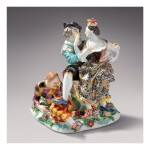 A RARE MEISSEN 'COMMEDIA DELL'ARTE' GROUP OF 'THE INDISCREET HARLEQUIN' CIRCA 1740