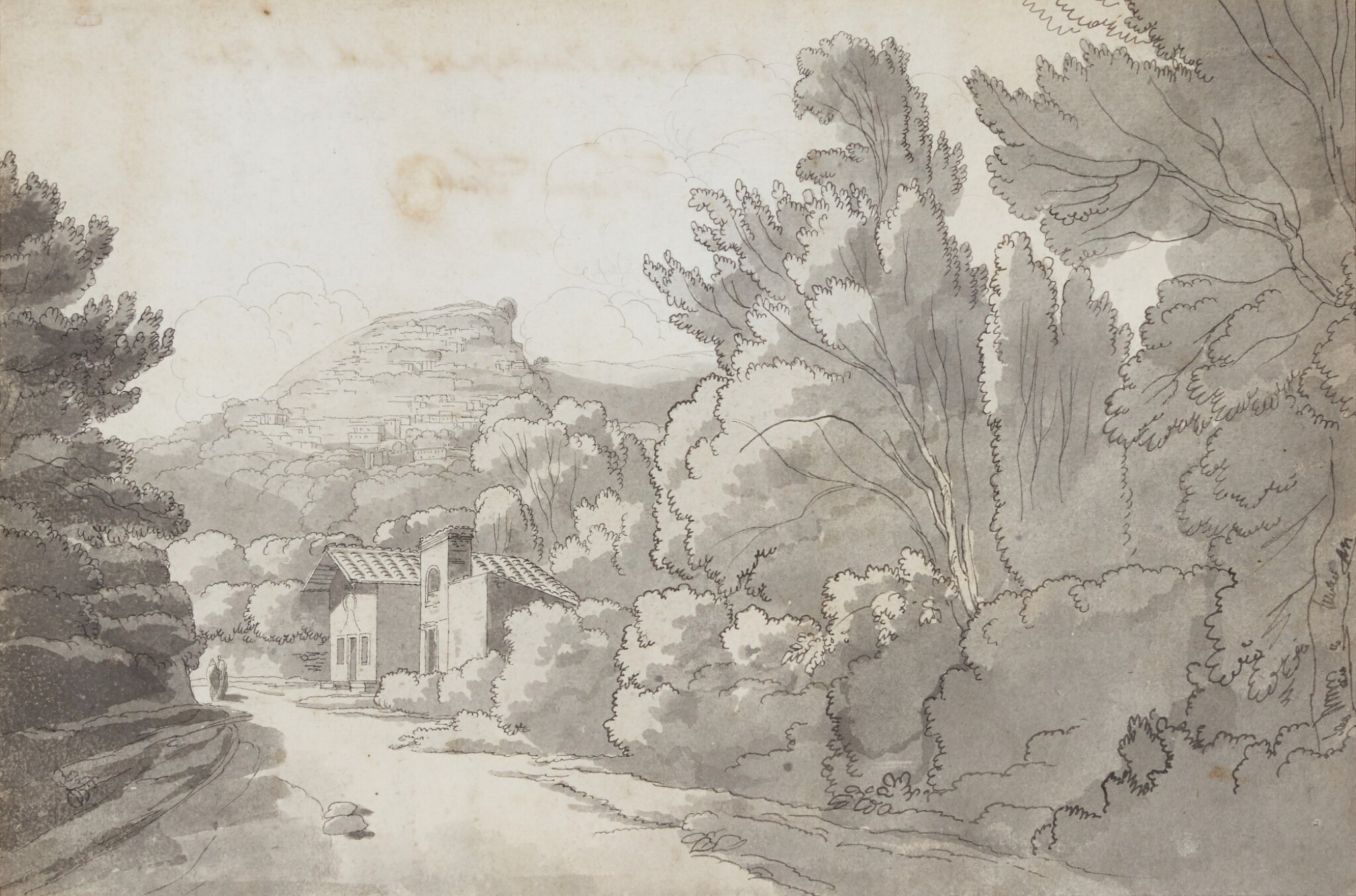 View full screen - View 1 of Lot 596. FRANCIS TOWNE | A view of a Hermitage at Rocca di Papa, near Lake Albano,Italy.