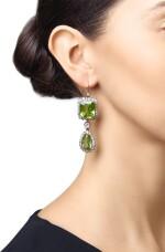 PAIR OF PERIDOT AND DIAMOND EARRINGS