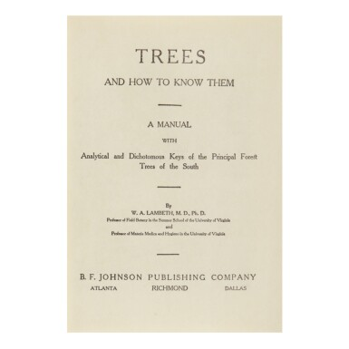 View 1. Thumbnail of Lot 3. WILLIAM ALEXANDER LAMBETH | TREES AND HOW TO KNOW THEM. RICHMOND: (1911), GEORGIA O'KEEFFE'S COPY.