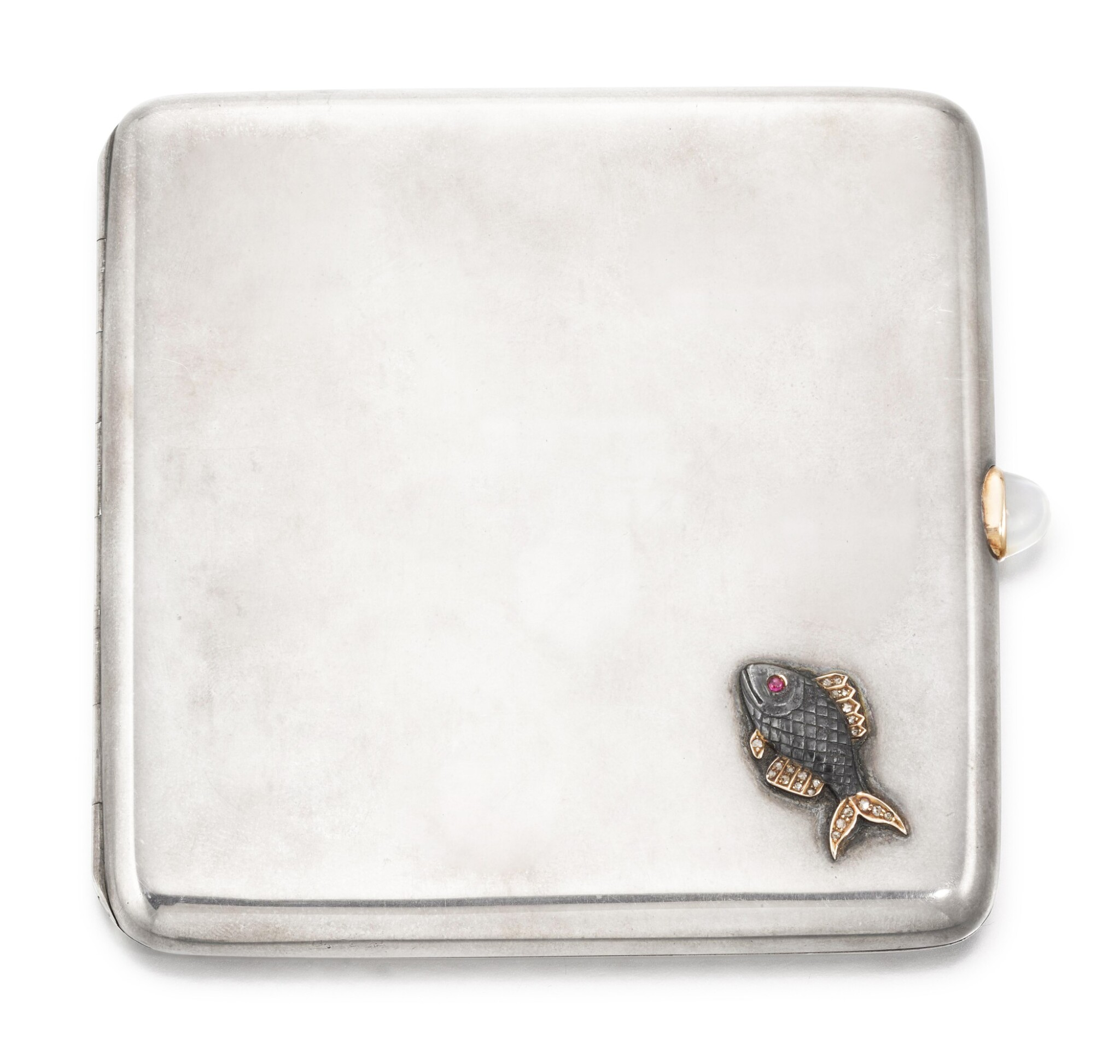 View full screen - View 1 of Lot 64. A Fabergé jewelled silver cigarette case, workmaster Michael Perchin, St Petersburg, circa 1890.
