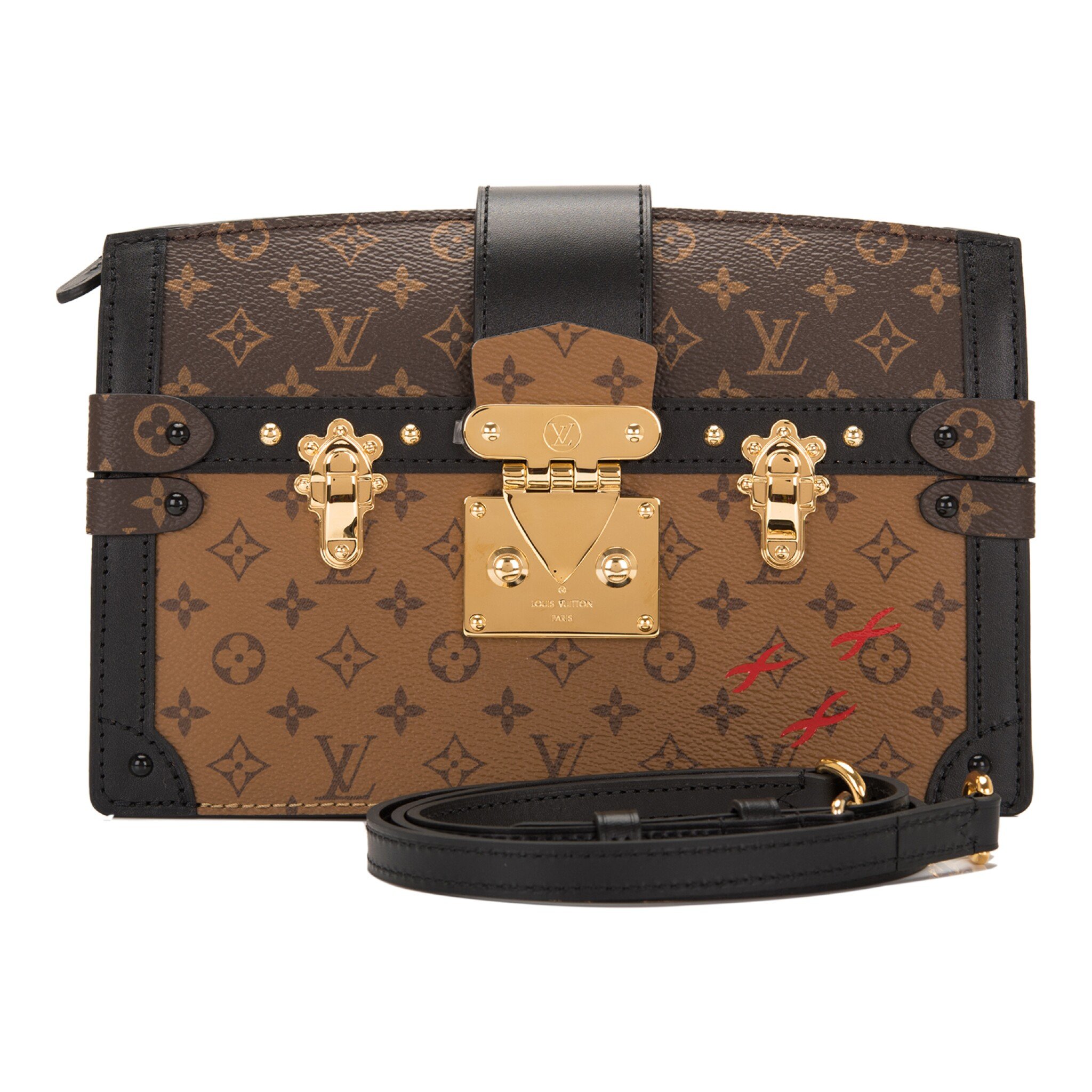 View full screen - View 1 of Lot 115. Louis Vuitton Trunk Clutch of Reverse Monogram Canvas with Polished Brass Hardware .