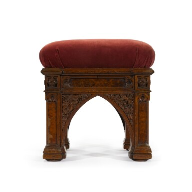 View 2. Thumbnail of Lot 168. A George IV carved and pollarded oak stool by Morel and Seddon, circa 1827-28, the design attributed to A. W. N. Pugin.