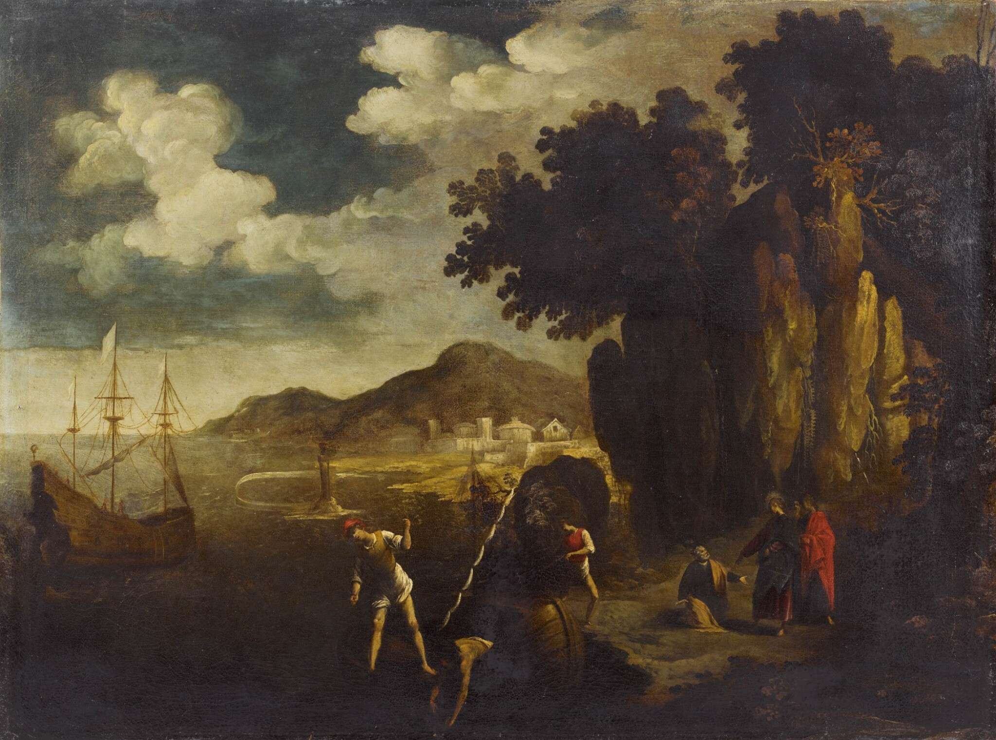 View full screen - View 1 of Lot 160. EMILIAN SCHOOL, 17TH CENTURY | A COASTAL LANDSCAPE WITH THE CALLING OF SAINT PETER.