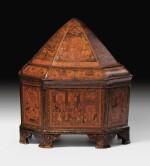 A MONUMENTAL QAJAR REGAL LACQUER LIDDED-CROWN BOX, PERSIA, 19TH CENTURY