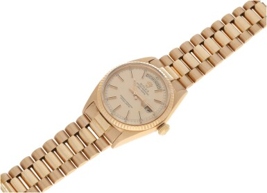 View 6. Thumbnail of Lot 120. REFERENCE 1803 DAY-DATE A PINK GOLD AUTOMATIC WRISTWATCH WITH DAY, DATE AND BRACELET, CIRCA 1972.