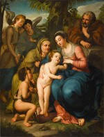The Holy Family with Saint Elizabeth, the infant Saint John the Baptist and two angels, in a landscape
