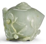 A CELADON JADE 'PEACH' WATERPOT AND COVER QING DYNASTY, 19TH CENTURY | 清十九世紀 青白玉福壽雙全水盂