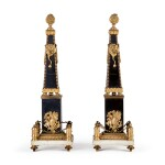 A PAIR OF LOUIS XVI GILT BRONZE-MOUNTED BLACK AND WHITE MARBLE OBELISKS, LATE 18TH CENTURY