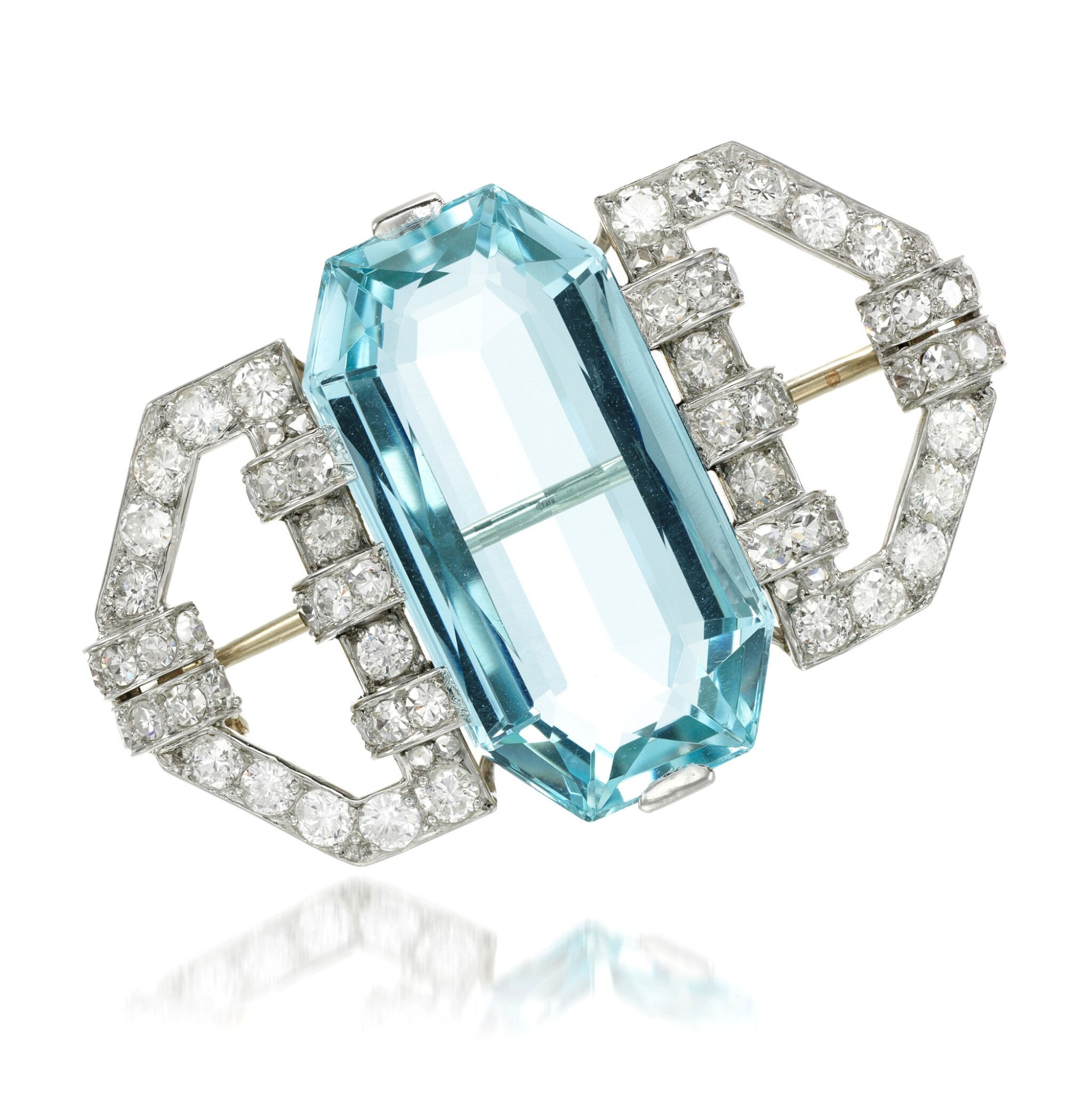 View full screen - View 1 of Lot 118. Aquamarine and diamond brooch, 1930s.