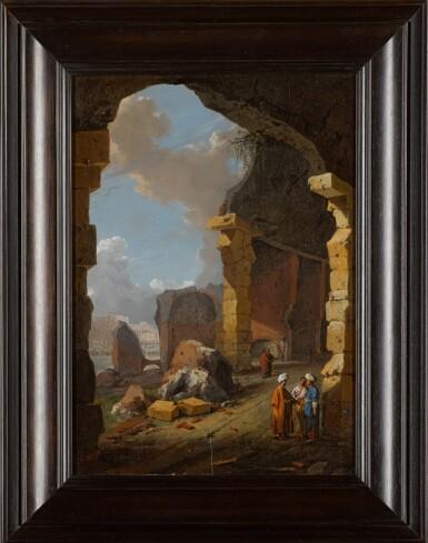 View 2. Thumbnail of Lot 81. BARTHOLOMEUS BREENBERGH | Roman ruins with turbaned figures.