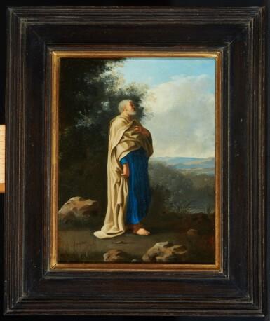 View 2. Thumbnail of Lot 78. CORNELIS VAN POELENBURCH | Recto: Saint Peter standing in an italianate landscape; Verso: a rocky cave landscape.