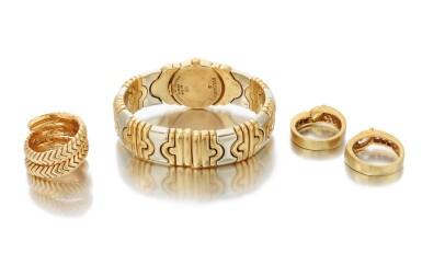 View 3. Thumbnail of Lot 107. 'Parentesi' bracelet-watch and 'Spiga' ring, Bulgari, and two diamond rings (Orologio da polso 'Parentesi' e anello 'Spiga', Bulgari, e due anelli in diamanti).