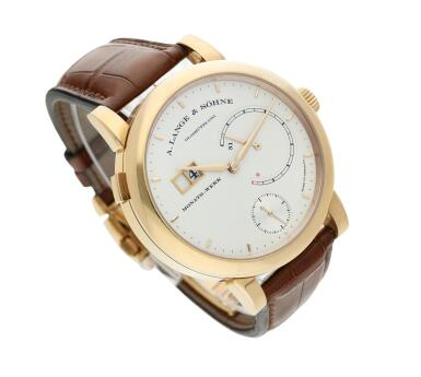 View 3. Thumbnail of Lot 294. Reference 130.032F Lange 31  A pink gold wristwatch with date, power reserve and zero-reset mechanism, Circa 2010 .