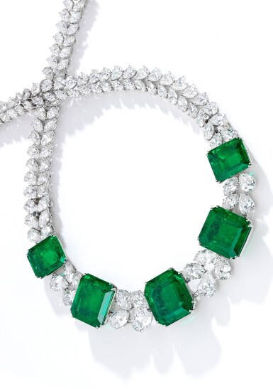 View 2. Thumbnail of Lot 97. Harry Winston   An Impressive Emerald and Diamond Necklace.