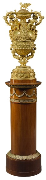 A LOUIS-PHILIPPE GILT-BRONZE MOUNTED COVERED VASE, CIRCA 1840, BY THOMIRE & CIE
