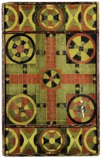 AMERICAN POLYCHROME PAINT-DECORATED WOODEN PARCHEESI GAMEBOARD, MID-19TH CENTURY