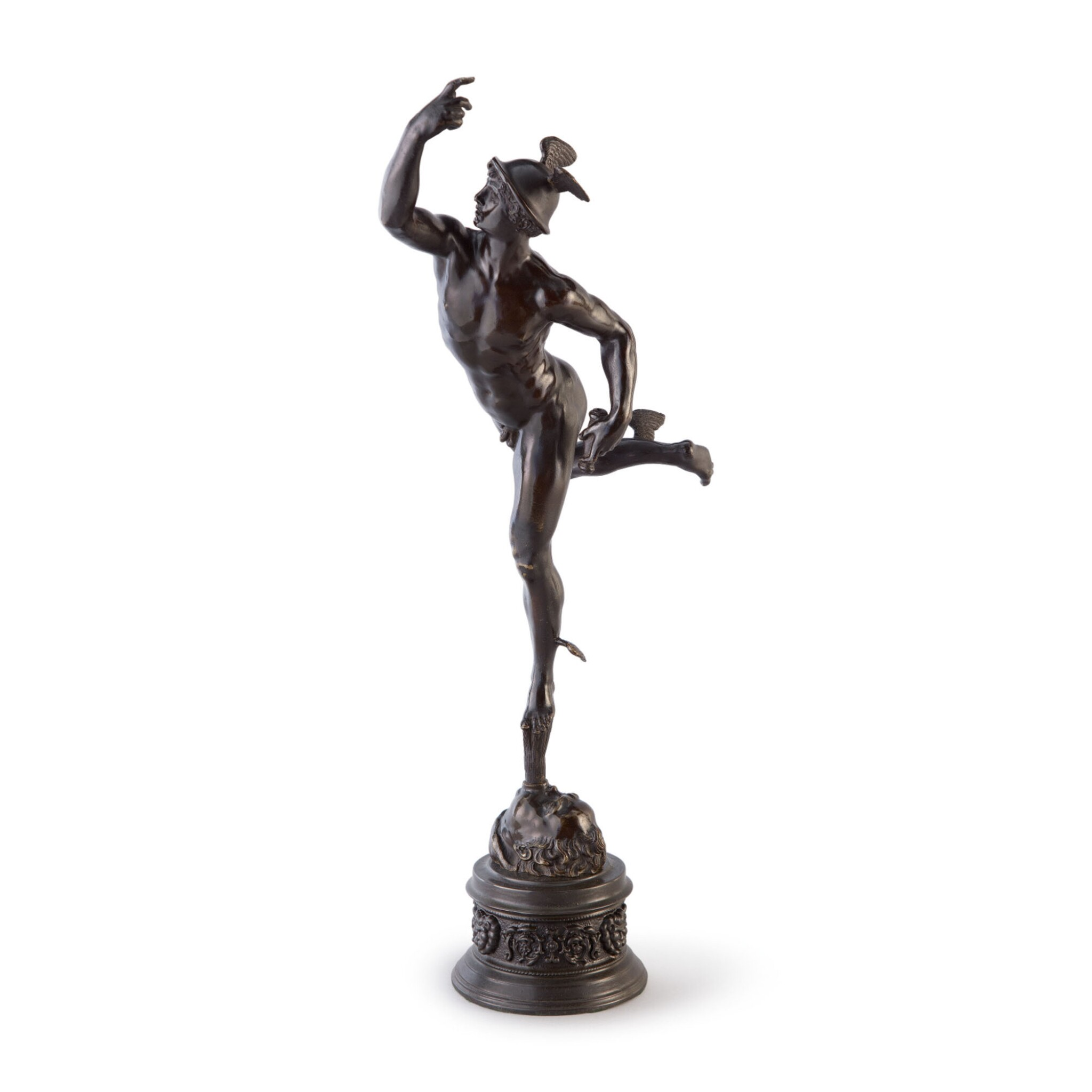View full screen - View 1 of Lot 628. A FRENCH (?) BRONZE FIGURE OF MERCURY, AFTER GIAMBOLOGNA   19TH CENTURY.