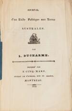 DUCHARME (L.). Journal d'un exilé aux terres australes. Montréal, 1845. In-8 broché (sous étui moderne toile bleue)