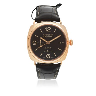 View 1. Thumbnail of Lot 46. PANERAI | RADIOMIR 8 DAYS GMT ORO ROSSO, REF PAM00395 LIMITED EDITION PINK GOLD DUAL TIME WRISTWATCH WITH DATE, 24-HOUR AND 8-DAY POWER RESERVE INDICATION CIRCA 2018.