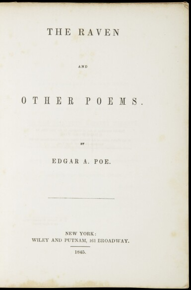 View 2. Thumbnail of Lot 76. POE, EDGAR ALLAN | The Raven. New York: Wiley and Putnam, 1845.