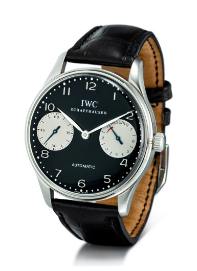 """View 2. Thumbnail of Lot 2023.  IWC     PORTUGIESER AUTOMATIC 2000, REFERENCE 5000-001  A LIMITED EDITION STAINLESS STEEL WRISTWATCH WITH POWER RESERVE INDICATION, CIRCA 2002   萬國   """"Portugieser Automatic 2000 型號5000-001 限量版精鋼腕錶,備動力儲備顯示,機芯編號2828439,錶殼編號2792473,約2002年製""""."""