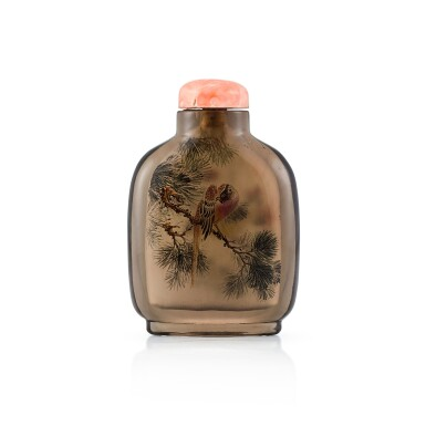 View 2. Thumbnail of Lot 3041. An Inside-Painted Rock-Crystal 'Birds and Flowers' Snuff Bottle By Wang Xisan, Dated Yimao Year, Corresponding to 1975 | 丁卯(1975年) 王習三作水晶內畫花鳥圖鼻煙壺 《丁卯秋末王習三作》款.