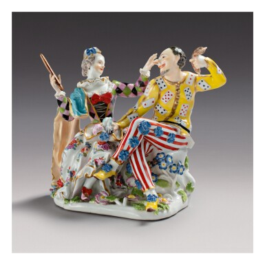 A RARE MEISSEN GROUP OF HARLEQUIN AND COLUMBINE CIRCA 1743