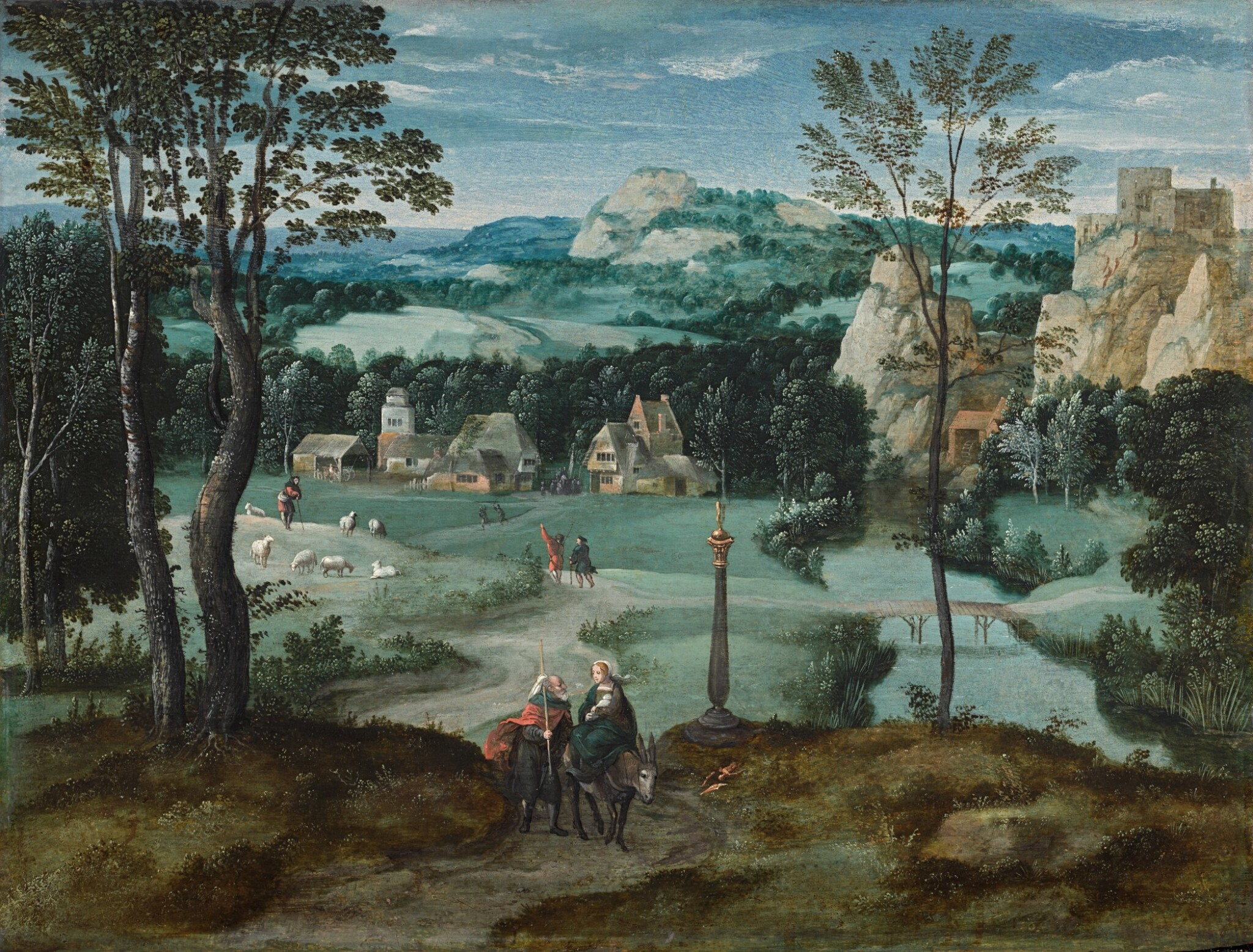 View full screen - View 1 of Lot 8. The Flight into Egypt, in a mountainous river landscape   《逃往埃及,山河景觀》.