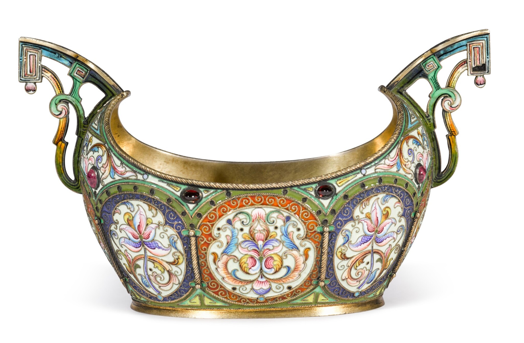 View full screen - View 1 of Lot 194. A silver-gilt and cloisonné enamel two-handled bowl, Orest Kurlyukov, Moscow, 1908-1917.