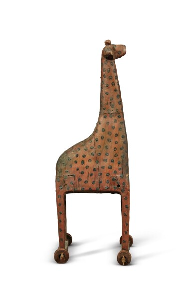 View 2. Thumbnail of Lot 1430. VERY RARE CARVED AND PAINT-DECORATED GIRAFFE PULL-TOY, PROBABLY PENNSYLVANIA, CIRCA 1850-80.