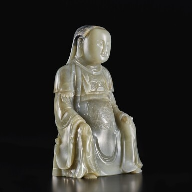 View 2. Thumbnail of Lot 646. AN EXTREMELY RARE CARVED GREY JADE FIGURE OF ZHENWU, MING DYNASTY, HONGZHI PERIOD, DATED TO THE EIGHTH YEAR, CORRESPONDING TO 1495.