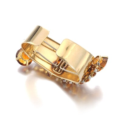 View 3. Thumbnail of Lot 110. Cartier | Pair of citrine and diamond clips/bangle combination, circa 1940 | 卡地亞 | 黃水晶配鑽石別針一對/手鐲組合,約1940年.