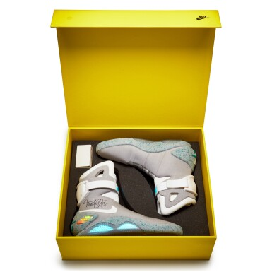 View 3. Thumbnail of Lot 1. Michael J. Fox Dual Signed Nike MAG 'Back to the Future' | 2011.